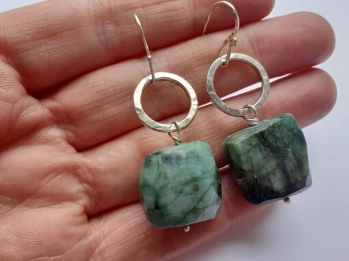 Silver Disco Dangle Earrings with Emerald