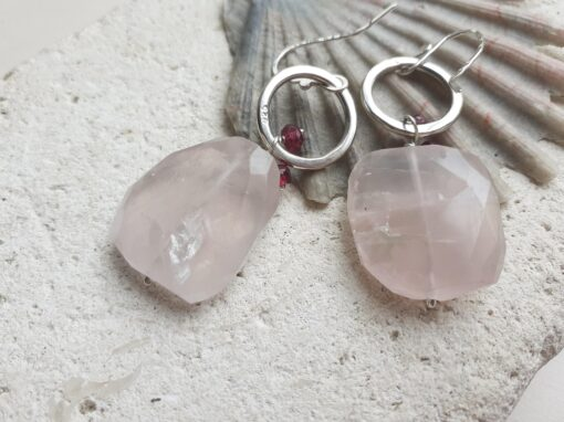 Disco Earrings Rose Quartz and Rubies