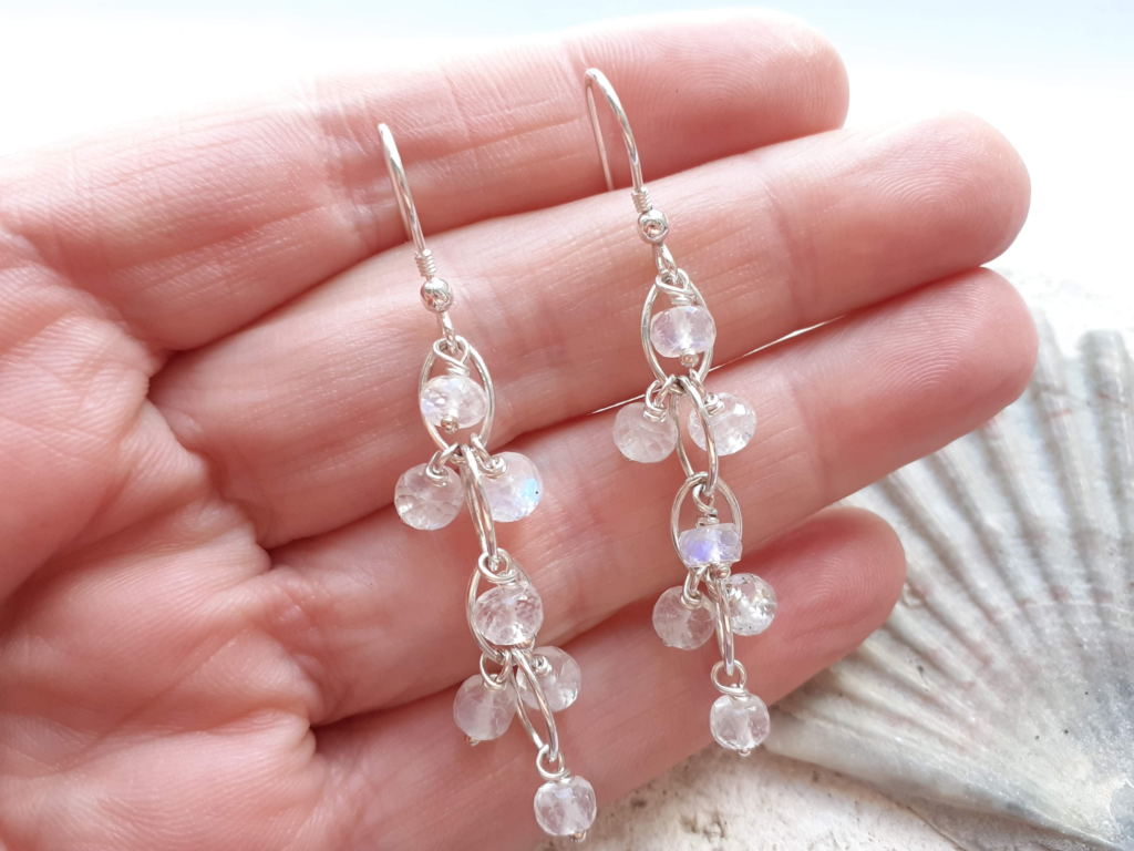 Faceted Moonstone Navette Waterfall Earrings