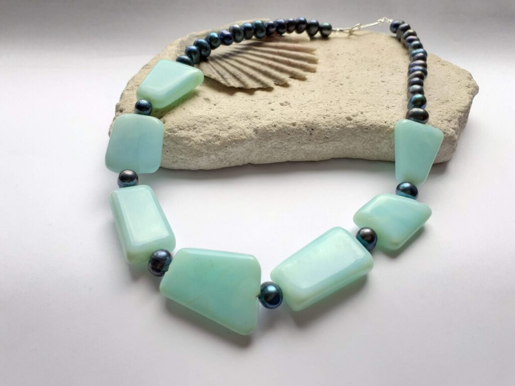 Blue Opal and Blue Freshwater Pearl Colour Theory Necklace