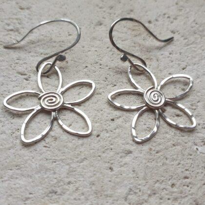 Silver Daisy Flower Hook Earrings