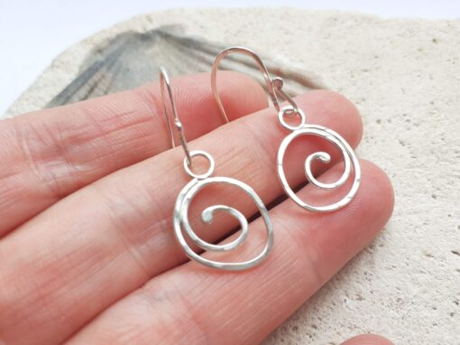 Textured Silver Spiral Hook Earrings