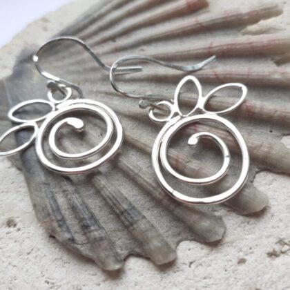 Textured Silver Spiral Berry Hook Earrings