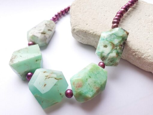 chrysoprase and purple freshwater pearls colour theory necklace