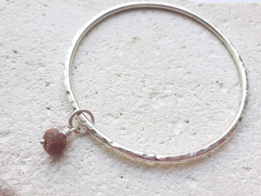 Sterling Silver Bangle with Raw Ruby Dangle Stone