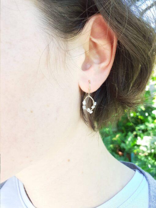 9ct Gold and Raw Diamond Teardrop Earrings