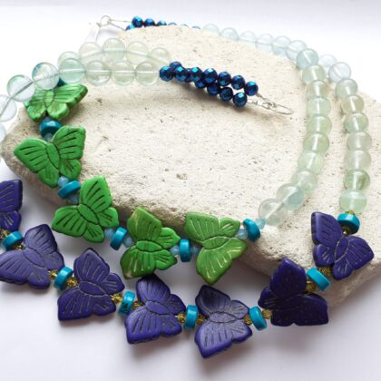 Blue and Green Howlite Butterfly Colour Theory Necklace
