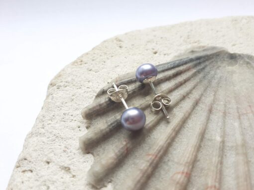 Lilac Grey Freshwater Pearl Studs