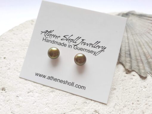 Mustard Gold Freshwater Pearl Studs