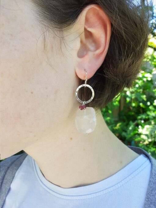 Rose Quartz Silver Circle Earrings