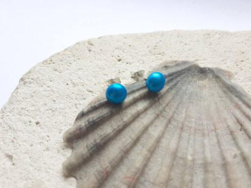 Turquoise Freshwater Pearl Studs