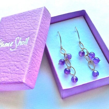 9 Carat Gold and Amethyst Waterfall Earrings