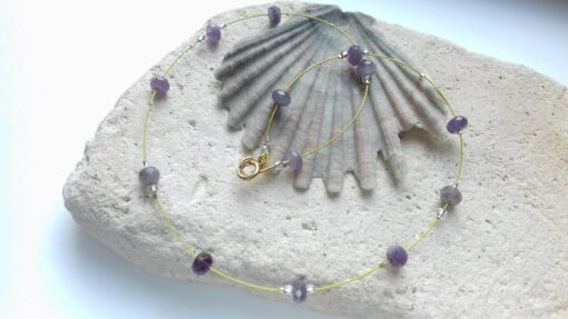 9 Carat Gold and Amethyst Floating Bead Necklace