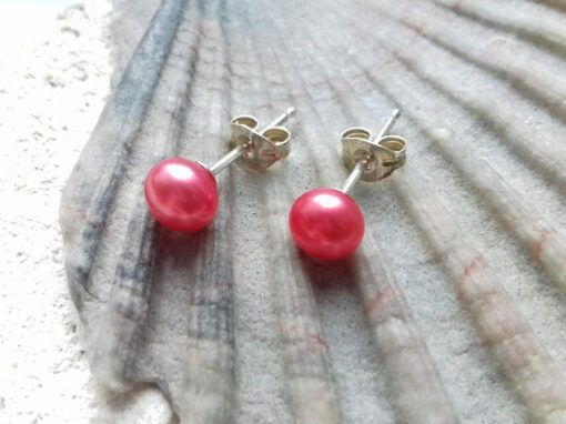 Strawberry Pink Freshwater Pearl Studs with Sterling Silver