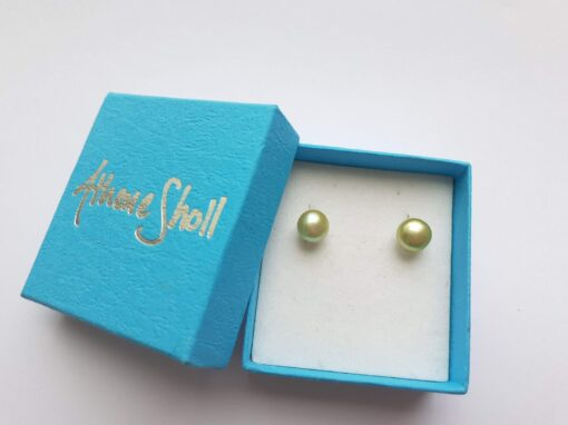 Lage Pale Lime Pear Stud Earrings