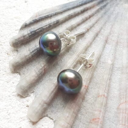 Peacock Green Freshwater Pearl Studs