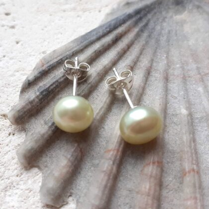 Pale Lime Freshwater Pearl Stud Earrings