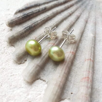 Lime Green Pearl Stud Earrings with Sterling Silver