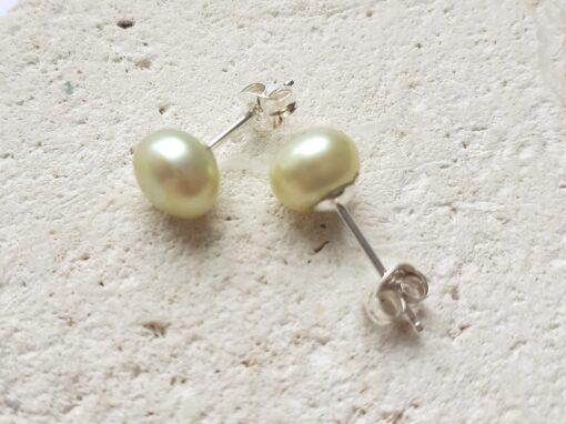 Pale Lime Freshwater Pearl Stud Earrings