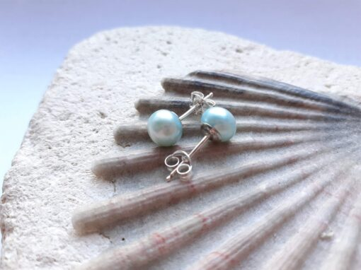 Ice Blue Freshwater Pearl Stud Earrings
