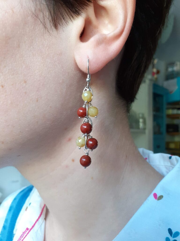 Red Jasper and Yellow Opal Navette Earrings
