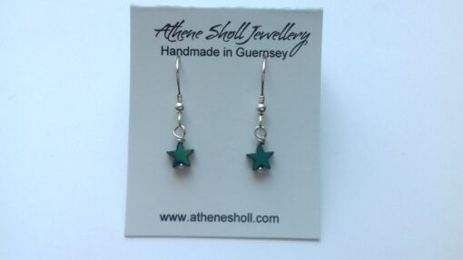 Little Green Hematite Stars Dangle Earrings with Sterling Silver Hooks