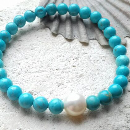 Turquoise and Pearl Stretchy Bracelet
