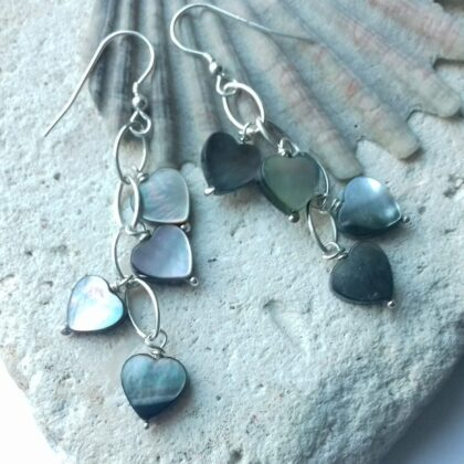 Mother of Pearl Heart Navette Waterfall Earrings with Sterling Silver Hooks