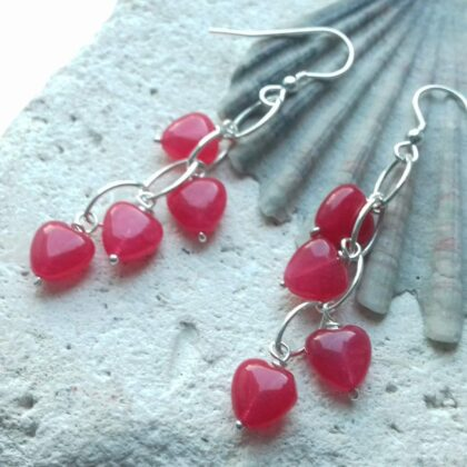 Pink Quartzite Waterfall Earrings with Sterling Silver Hooks