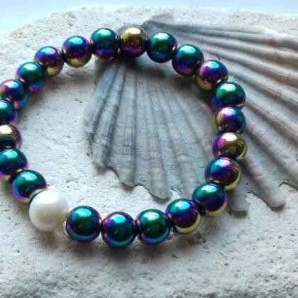 Electroplated Hematite Elastic Bracelet