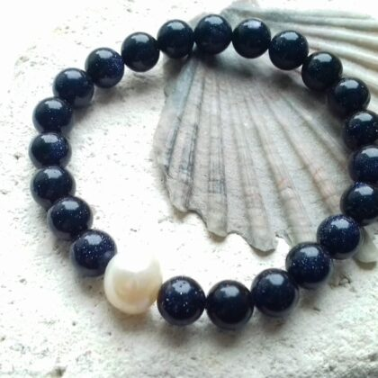 Blue Goldstone and Freshwater Pearl Bracelet