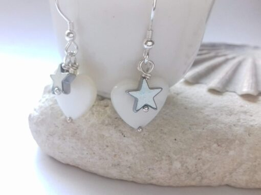 Mother of Pearl Hearts with Hematite Star Earrings with Sterling Silver Hooks
