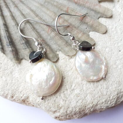 Coin Pearl and Grey Hematite Heart Dangle Earrings With Sterling Silver Hooks