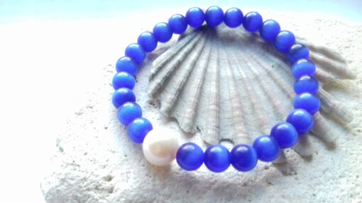 Dark Blue Cats Eye Bracelet with Pearl Accent