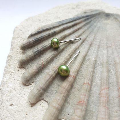 Lime Green Freshwater Pearl Stud Earrings