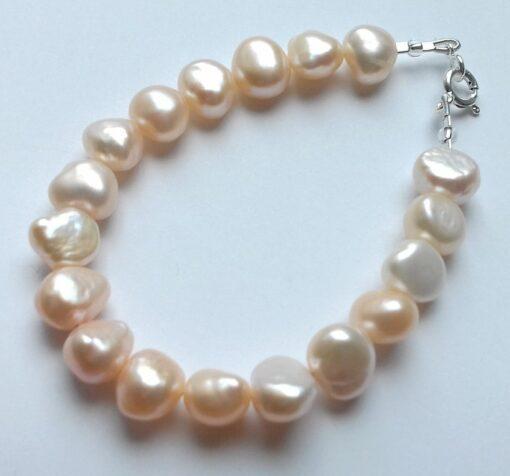 Chunky Peach Keshi Freshwater Pearl Bracelet