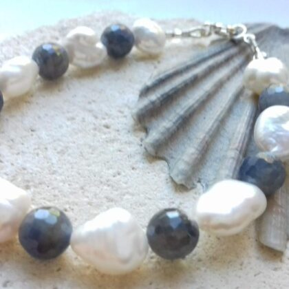 Freshwater Pearl and Sapphire Bracelet