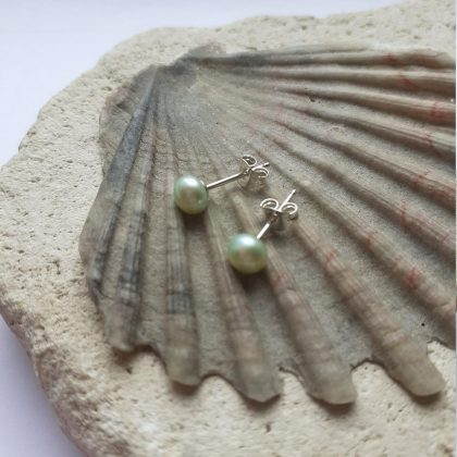 Mint Green Freshwater Pearl Stud Earrings