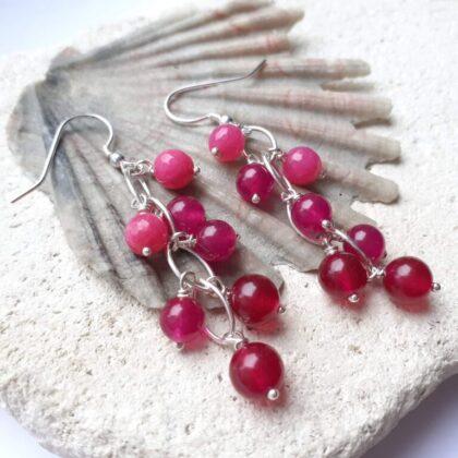 Bright Pink Jade and Quartz Gradient Waterfall Earrings