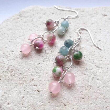 Jade, Amazonite and Rose Quartz Waterfall Earrings