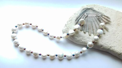 White Pearl Necklace with Multi Colour Hematite Beads and a Handmade Sterling Silver Clasp