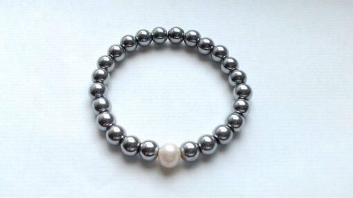 Silver Electroplated Hematite Elastic Bracelet with a White Pearl Accent