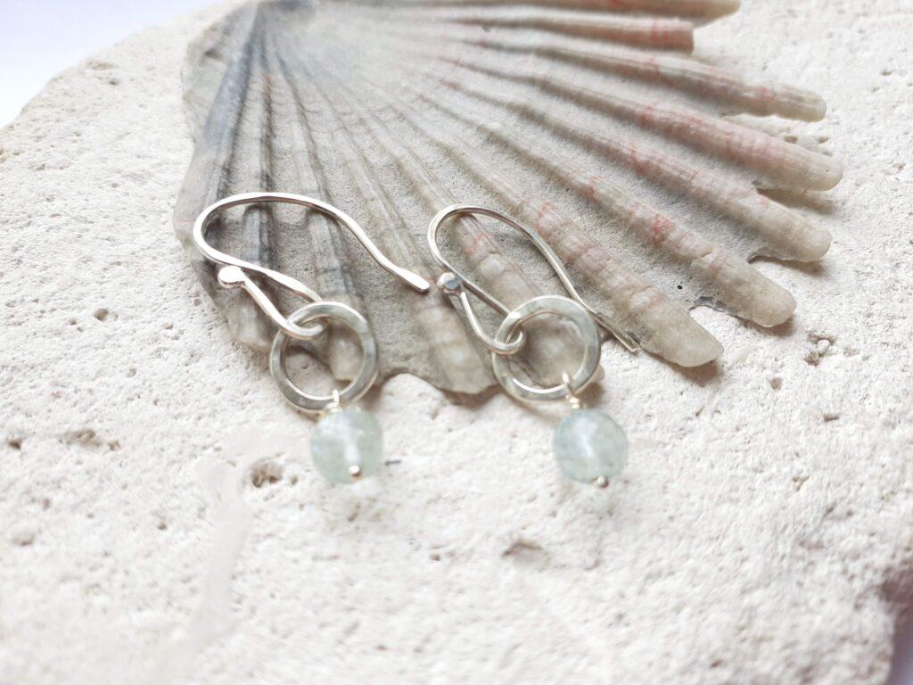 Aquamarine Gemstone Disco Silver Circle Earrings