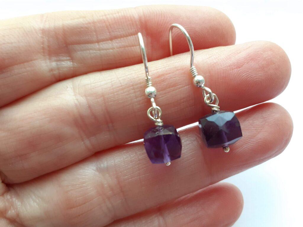 Amethyst Cube Dangle Earrings