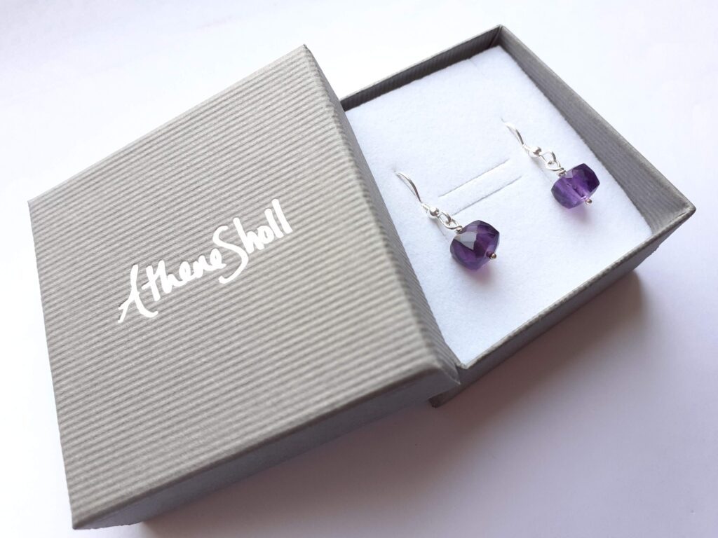 Amethyst Cube Sterling Silver Hook Dangle Earrings