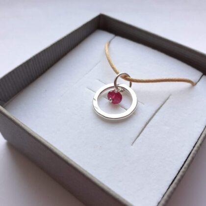 Ruby Gemstone Silver Circle Pendant