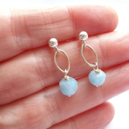 Faceted Aquamarine Navette Dangle Studs with Sterling Silver