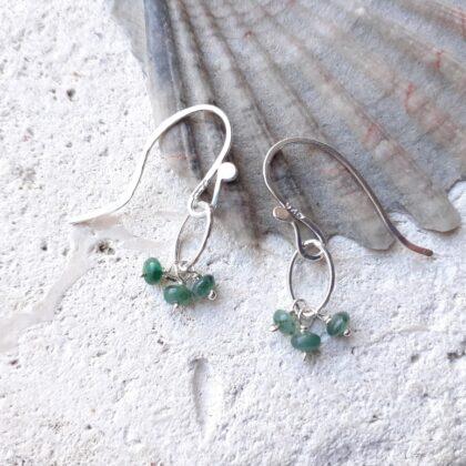 Emerald Gemstone Navette Sterling Silver Earrings
