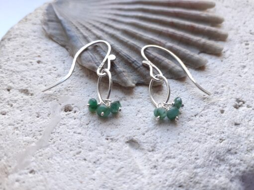 Emerald Gemstone Navette Sterling Silver Earrings