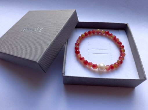 Watermelon Tourmaline Bracelet with Pearl Accent Bead